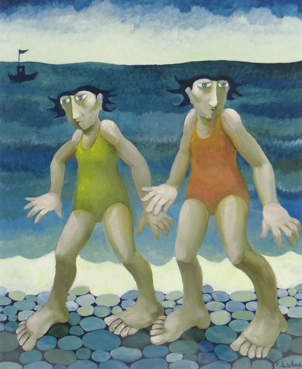 MURIEL DELAHAYE limited edition (93/275) colour print - 'Frozen Bathers', signed in pencil, 45 x