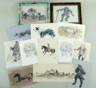 SIR KYFFIN WILLIAMS RA thirteen greeting cards or similar - various typical subject matter including
