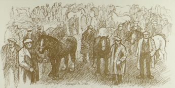 ANEURIN JONES monoprint - figures and horses at a horse fair, 19 x 37cms Provenance: private