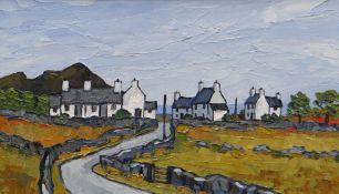 DAVID BARNES oil on board - coastal hamlet of whitewashed cottages, signed verso, 29 x 50cms