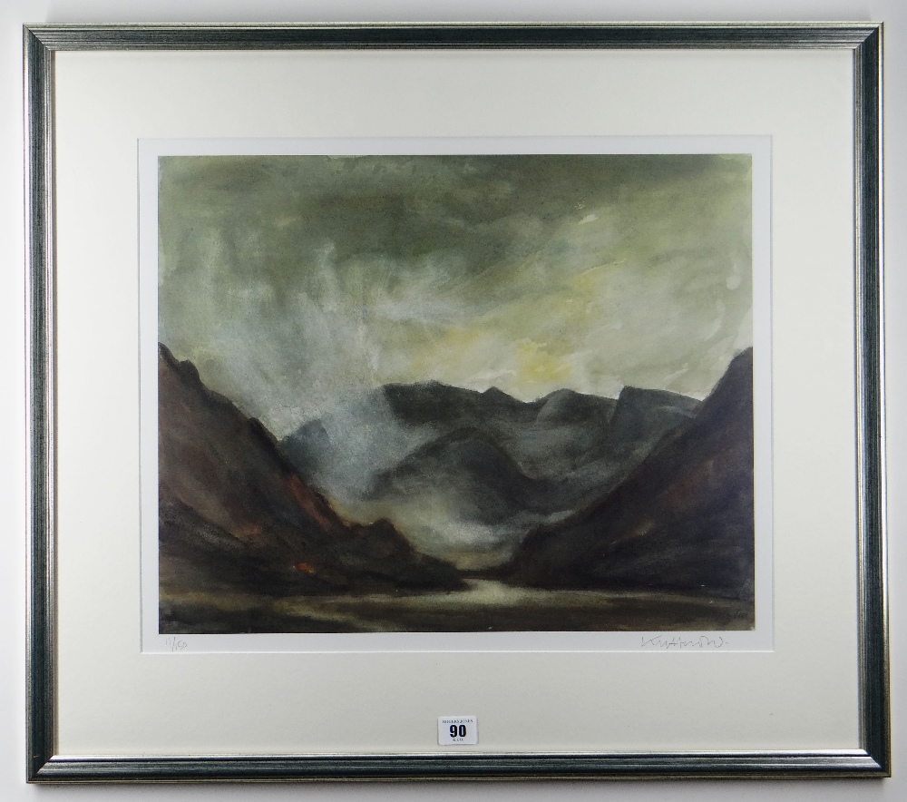 SIR KYFFIN WILLIAMS RA limited edition (11/150) colour print - entitled verso 'Nant Ffrancon', - Image 2 of 2