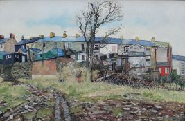 CHRISTOPHER HALL oil on board - back of south Wales terraced houses with three children at play,