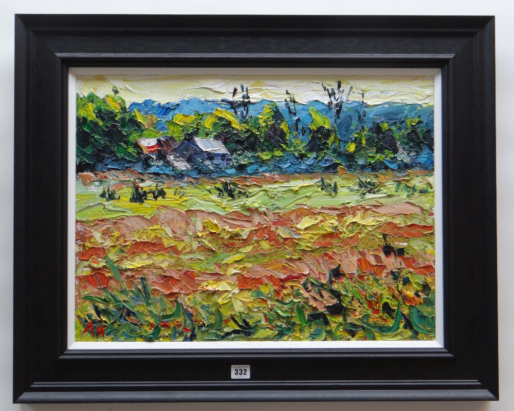 ALAN KNIGHT thick impasto oil on canvas - colourful landscape with farm and building, entitled verso - Image 2 of 2