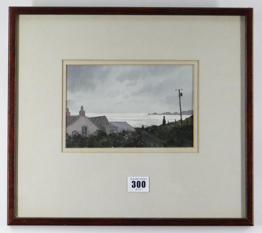 GARETH THOMAS watercolour - Pembrokeshire coast, entitled verso 'Cottage at Whitesands', signed - Image 2 of 2