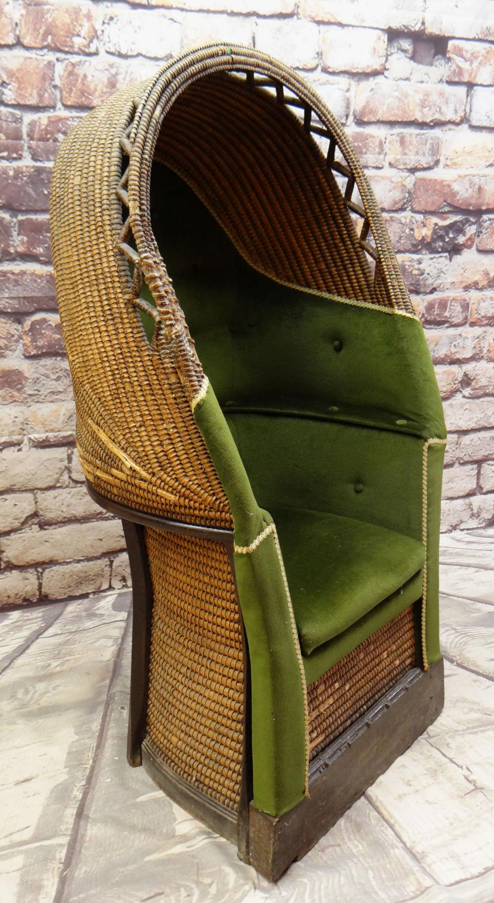 A RARE 19TH CENTURY MONMOUTHSHIRE LIPWORK BEEHIVE ARMCHAIR of wicker composition, wooden structure - Image 2 of 6