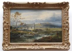 WILLIAM HENRY MANDER oil on canvas - river with cottage, entitled verso 'Sketch at Towyn, N. Wales',