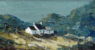 CHARLES WYATT WARREN oil on board - whitewashed cottage and Eryri mountains, entitled verso 'Farm
