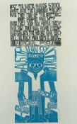 PAUL PETER PIECH two colour linocut poster - 'Human Rights and Justice for Aborigines' with
