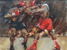 DAVID GRIFFITHS MBE oil on board - two boxers, signed and with Mall Galleries label verso, giving