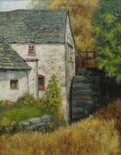 CHRIS GRIFFIN oil on canvas - whitewashed Welsh water-mill, signed and dated 1977, 55 x 43cms