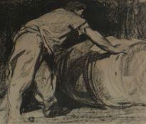 SIR FRANK BRANGWYN RA print on brown paper - a cooper rolling a barrel, 21 x 25cms Provenance: