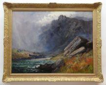 JOHN CUTHBERT SALMON RBA RCA oil on canvas - dramatic mountain ridge with weather closing and