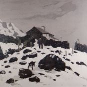 SIR KYFFIN WILLIAMS RA unsigned print - entitled 'Snow in Nant Peris', unsigned, 37.5 x 37cms