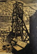 ELWYN THOMAS monochrome print - colliery pit head with trams and figures standing, signed and