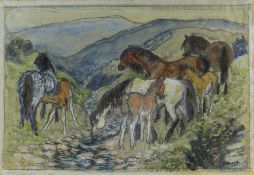 CHARLES FREDERICK TUNNICLIFFE OBE RA preliminary drawing in mixed media - ponies in a landscape,