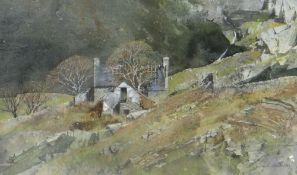 MALCOLM EDWARDS watercolour - derelict upland farm, entitled verso 'Pencarreg', signed, 23 x 36.5cms
