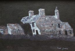 HUW GARETH JONES oil on board - farm at night, entitled verso 'Nant y Gors', signed, 26 x 38cms