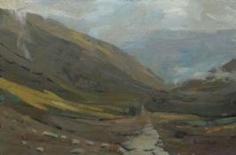 IEUAN MEIRION PUGH oil on canvas - valley landscape, signed, 48 x 71cms Provenance: private