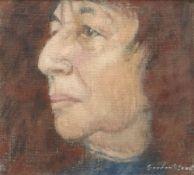 GORDON STUART oil on canvas board - head and shoulders portrait of Bernice Rubens, Booker prize-