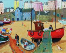 VIVIENNE LUXTON oil on board - fisherman and figures in harbour at low tide, entitled verso on