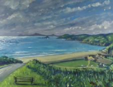 THOMAS HASKETT oil on card - Cardigan Bay coastline, signed with initials, 25 x 33cms Provenance: