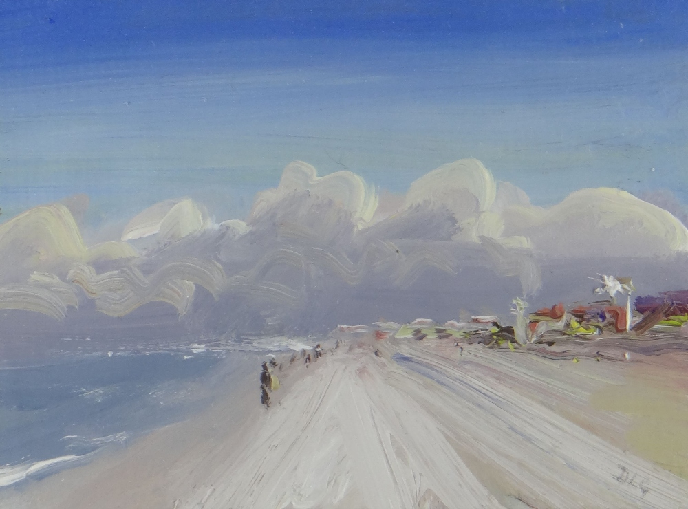 DAVID LLOYD GRIFFITH oil on card - entitled verso 'Pensarn Beach', signed with initials, 11 x 15.