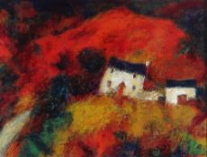 CHRIS GRIFFIN oil - whitewashed farmhouse and buildings on mountainside, entitled verso 'Y Fferm',