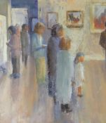 WENDY LOVEGROVE oil on card - group of standing figures in gallery, entitled verso 'Sara's First