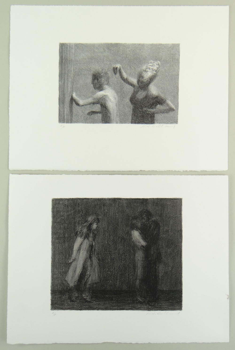 HARRY HOLLAND two artist's proof mono prints - figures, signed, both 28 x 38cms Provenance: