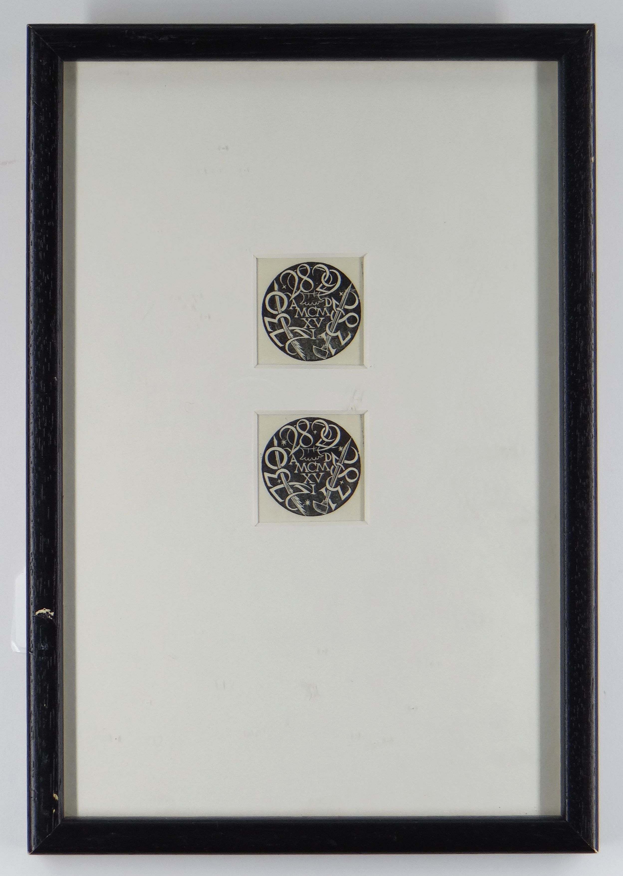 ERIC GILL pair of wood engravings framed together - entitled 'Circular Device', circa 1916, 4 x 4cms - Image 2 of 2