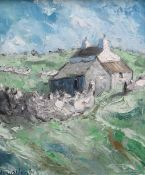WYN HUGHES oil on board - whitewashed cottage, entitled verso 'Cae Bach', signed, 30 x 24cms