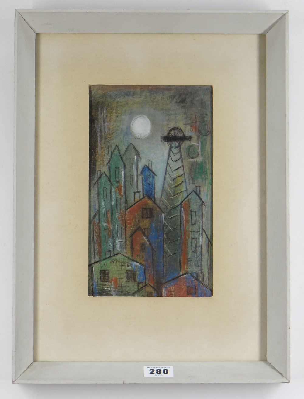ROBERT MORGAN wax crayon drawing - entitled 'Pit Buildings No.1', signed and dated 1960, with - Image 2 of 2
