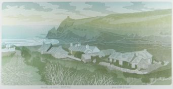 BERNARD GREEN artist's proof linocut - entitled in pencil 'Abereiddy, Late Summer', signed and dated