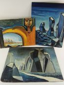 JACK JONES three early period oil on boards - surreal landscapes, two signed and dated 1952/53, 56 x