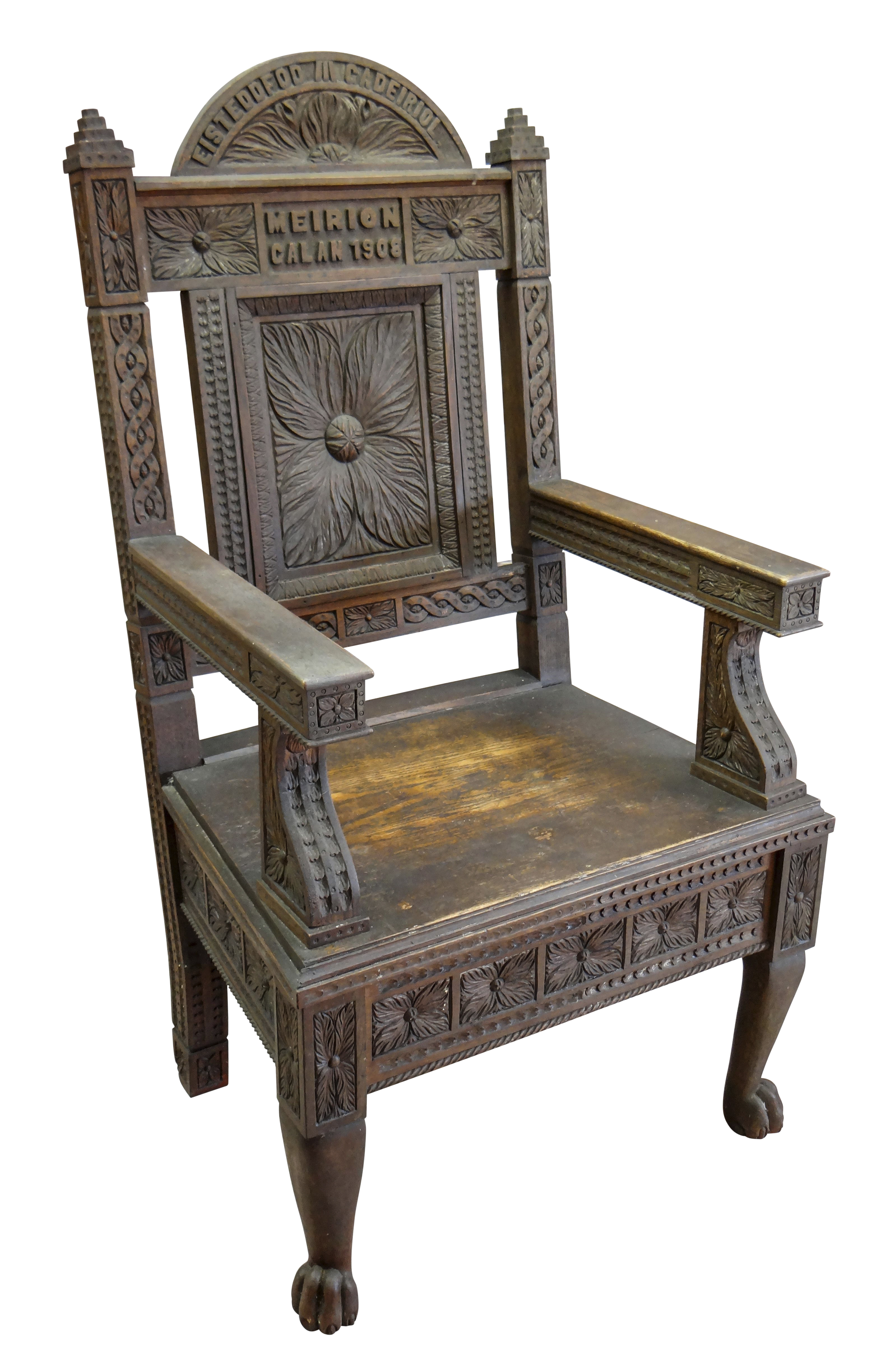 A 1908 EISTEDDFOD BARDIC CHAIR AWARDED TO REVEREND WILLIAM ALFA RICHARDS (1875-1931) in carved