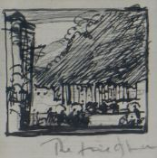 SIR FRANK BRANGWYN RA pen and ink drawing - Fire of London, unsigned, 6.5 x 6.5cms Provenance: