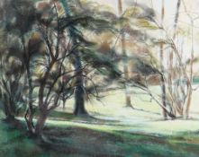 BERNICE CARLILL pastel - entitled verso on Attic Gallery Swansea label 'Trees in the Park' signed,