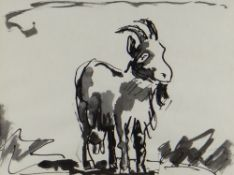 JOSEF HERMAN OBE RA inkwash - entitled verso 'The Goat', 18 x 24cms Provenance: private collection