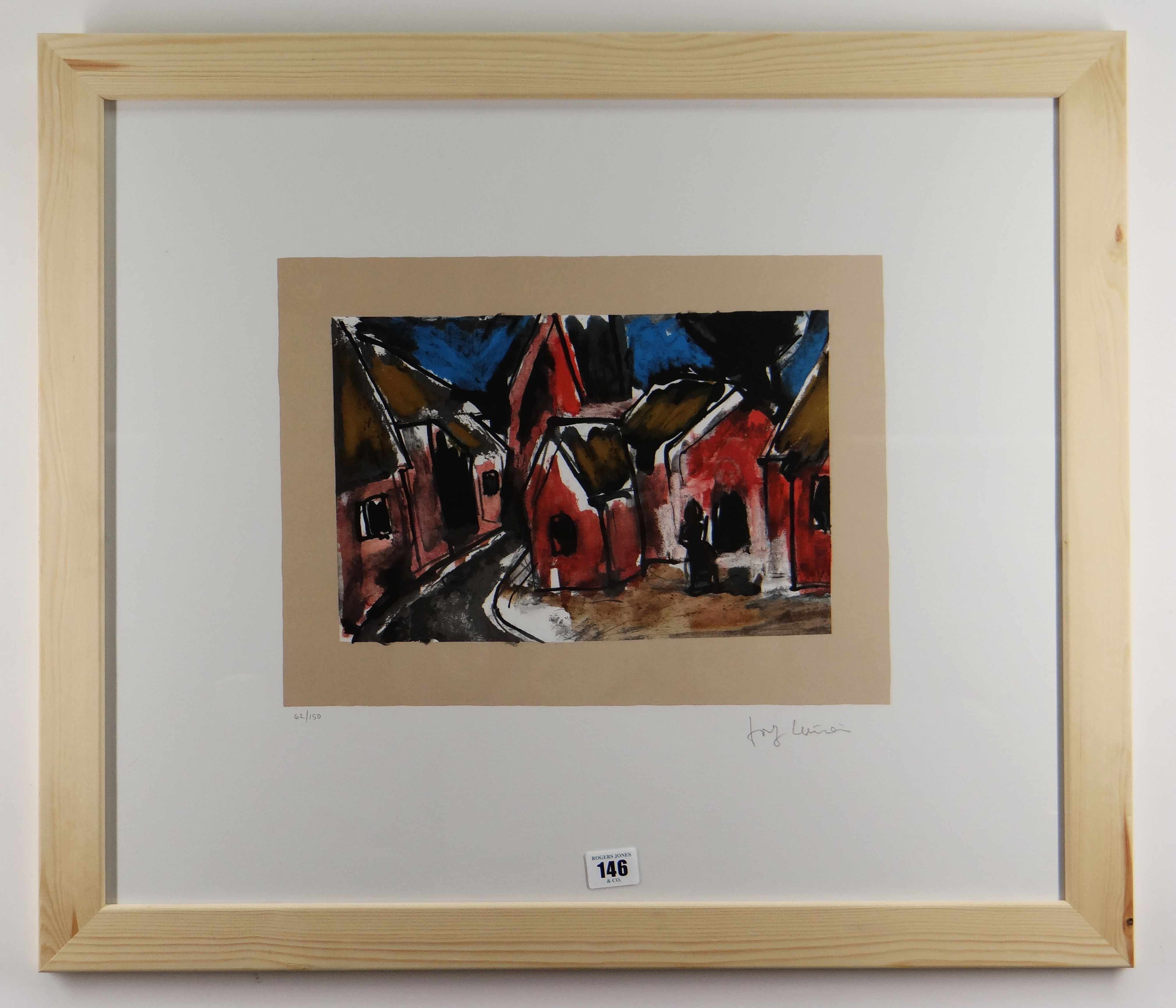 JOSEF HERMAN OBE RA limited edition (62/150) colour print - figure seated in village with church, - Image 2 of 2