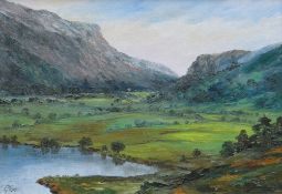 GWYNETH TOMOS oil on board - Eryri landscape, signed, 24 x 34cms Provenance: private collection