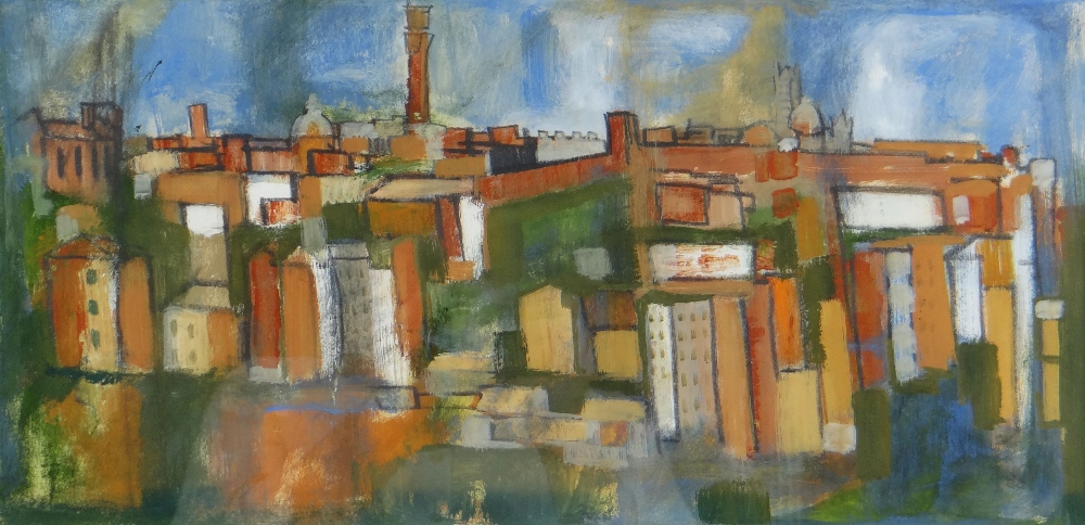 GWILYM PRICHARD gouache on paper - entitled verso 'San Gimignano, Tuscany' and dated 1963, signed,