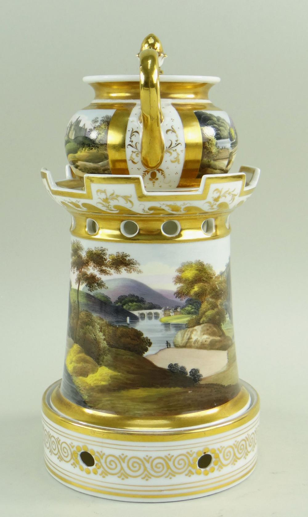 A WELSH LANDSCAPE ENGLISH PORCELAIN VEILLEUSE (tea-pot and warming stand) comprising miniature - Image 4 of 5
