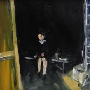 PAUL REES oil on board - seated female figure on a bench, entitled verso on Attic Gallery label '