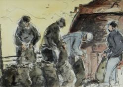 WILLIAM SELWYN watercolour - four figures at work, entitled verso 'Potato Harvesters', signed, 14