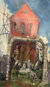 JOHN UZZELL EDWARDS oil on board - red chapel with broken gate, signed and dated '63, 79 x 46cms