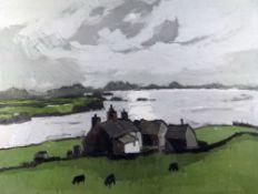 SIR KYFFIN WILLIAMS RA artist's proof colour print - Penrhyn Du farm, Aberffraw, signed fully in