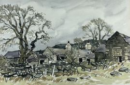 SIR KYFFIN WILLIAMS RA watercolour - old Eryri farmstead with trees, circa 1970, signed with
