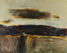 WILL ROBERTS oil on canvas - figure in field, entitled verso on Tegfryn Gallery label 'The Cloud