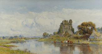 SIR ERNEST ALBERT WATERLOW RA (1850-1919) watercolour - 'Ogmore Castle, South Wales', river