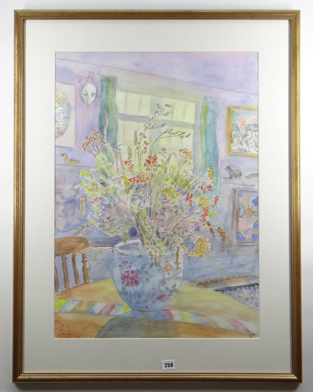 BIM GIARDELLI watercolour - interior scene with jardiniere of flowers on a table, signed, 69 x 48cms - Image 2 of 2